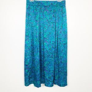 Vintage Prophecy Skirt Green Blue Satin Maxi
